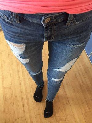 Hollister Jeans a sigaretta blu Tessuto misto