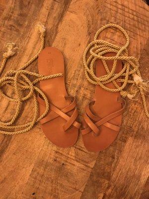 Romeinse sandalen roodbruin-goud Oranje