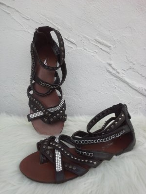 Roman Sandals black-silver-colored