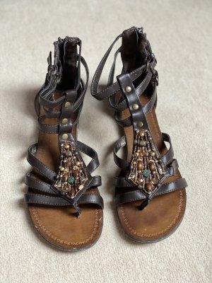 Graceland Roman Sandals dark brown-bronze-colored