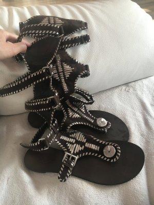 ASH Sandały rzymskie czarno-brązowy Skóra