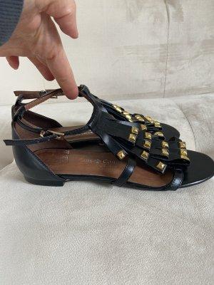 Friis & Company Sandalias romanas negro-color oro
