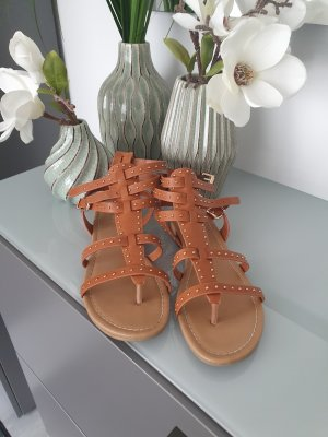 Catwalk Roman Sandals gold-colored-cognac-coloured
