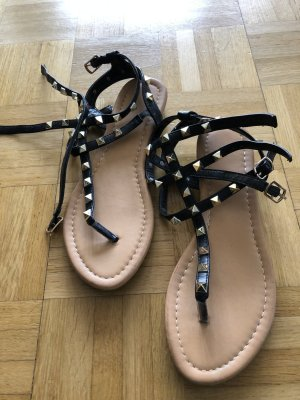 Roman Sandals black-gold-colored