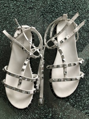 Roman Sandals white-black imitation leather