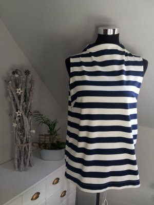 H&M Top de cuello de cisne blanco puro-azul oscuro