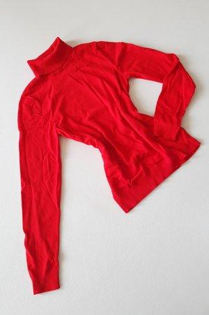 Rollkragen Feinstrick Pullover Knall Rot