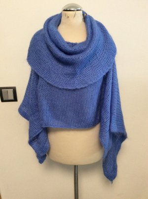 Knitted Poncho steel blue