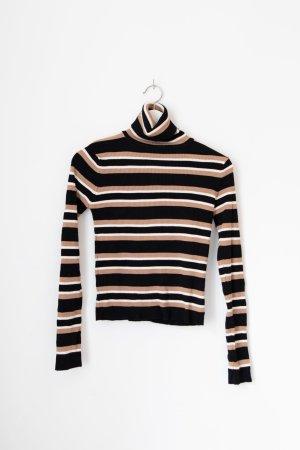 Zara Maglia a collo alto nero-marrone chiaro Cotone
