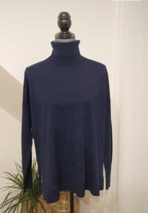 Rollkragen Pullover Dunkelblau Gr. S Wolle