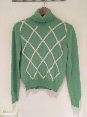 Claudia Obert Turtleneck Sweater green-natural white cashmere