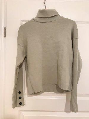 Rollkragen Pullover mit Knopfverzierung helles Khaki grün NA-KD ungetragen