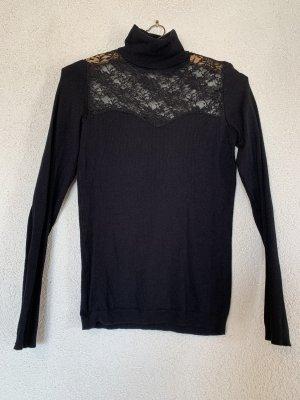 Rollkragen Pullover mit Spitze schwarz