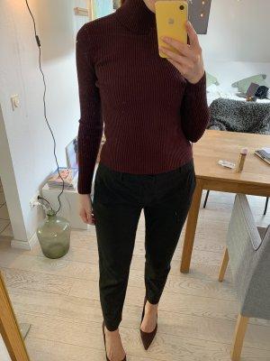 Rollkragen Rip-Stil Pullover Dunkelrot