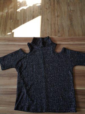 Vera Moda Camisa de cuello de tortuga negro-color plata