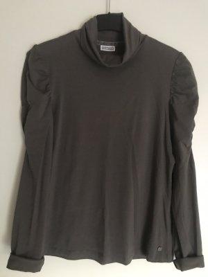 Street One Camisa de cuello de tortuga marrón grisáceo-caqui Algodón