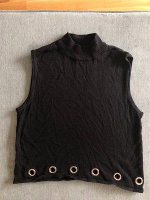 H&M Divided Camisa de cuello de tortuga negro-color plata