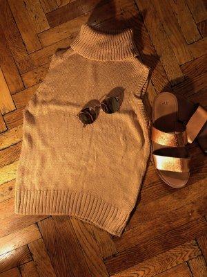 H&M Top con colletto arrotolato color cammello Cotone