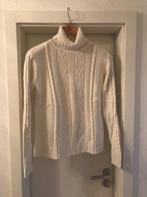 Rollkragen-Zopfmuster-Pullover wollweiß