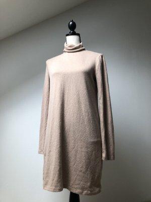Zara Swetrowa sukienka beżowy-camel Poliester