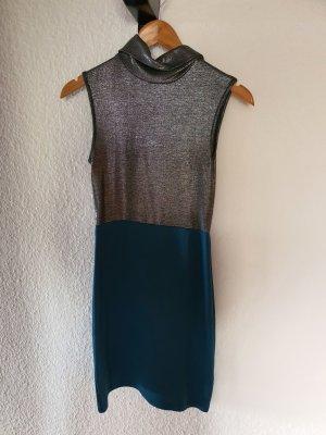 Rollkragenkleid kadettblau/silber