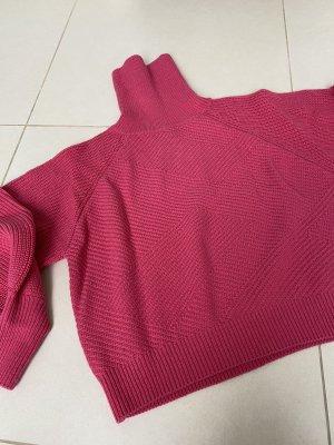 Długi sweter bez rękawów magenta