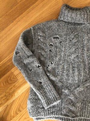 True Religion Jersey de cuello alto gris-color plata lana de alpaca