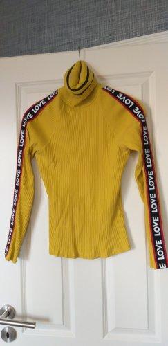 Camisa de cuello de tortuga amarillo-rojo