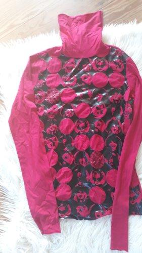Fornarina Koszulka z golfem czarny-różowy