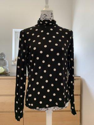 H&M Camisa de cuello de tortuga negro-blanco puro