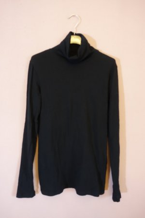 Majestic Filatures Camisa de cuello de tortuga negro tejido mezclado