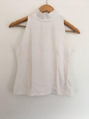 H&M Top con colletto arrotolato bianco sporco