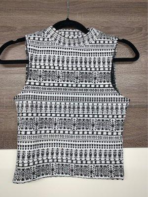 H&M Divided Top con colletto arrotolato nero-bianco