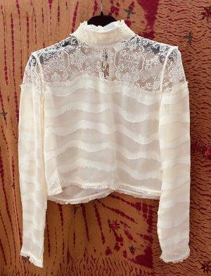 H&M Conscious Exclusive Blusa in merletto bianco sporco Seta
