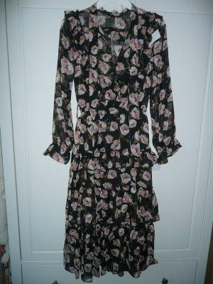 Romantik Style Midi Kleid Blüten Allover Print Schluppe Volant Rüschen Gr S 36
