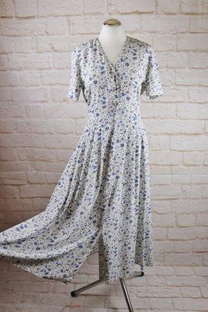 Romantisch Maxikleid langes Kleid La Rochelle Größe S 34 / 36 Millefleur Streublume Creme Weiß Blau Perlmutt Knopfleiste Vintage 80er