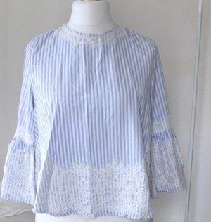 Zara Woman Blusa in merletto bianco-blu Cotone