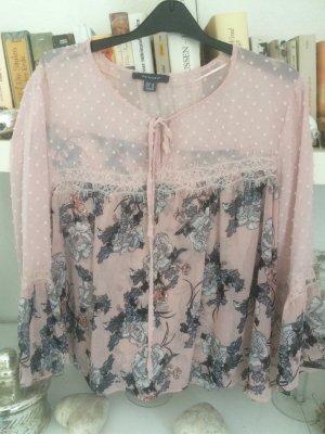 Romantische Bluse / rose-bunt / Gr. 38/40