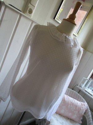 romantische Bluse semitransparent weiß mit kleinem Rüschenkragen