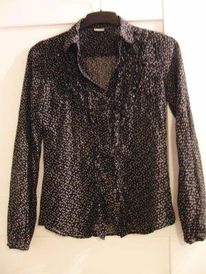 Romantische Bluse von Esprit - schwarz - Kringelmuster - Rüschen