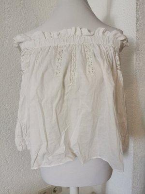 Zara Trafaluc Camisa tipo Carmen blanco puro