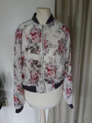 Romantische kurze Blouson Jacke mit floralem Muster Blumenmuster Blumen Collegejacke