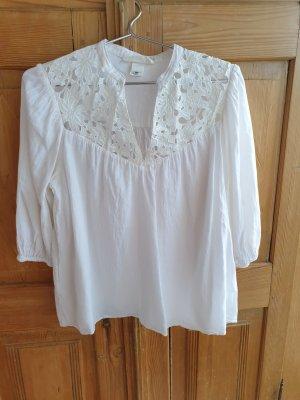 Romantische lockere Bluse mit 3/4 Ärmel aus Baumwolle