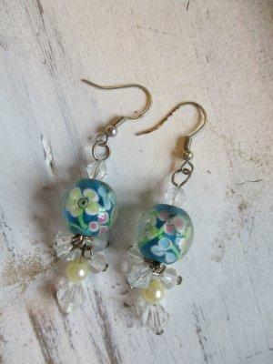 romantische Ohrstecker Ohrhänger mit Glasperlen Hellblau NEU