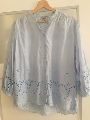 Romantische Oversize Bluse mit Lochstickereien von H&M, Gr. 36
