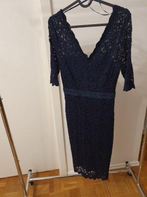 romantisches Abendkleid in Spitze Gr. S Orsay Dunkelblau Perlenstickerei