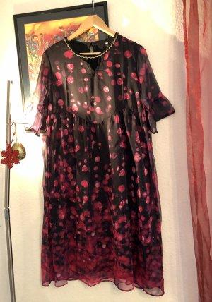 100% Fashion Robe à volants noir-rouge fluo