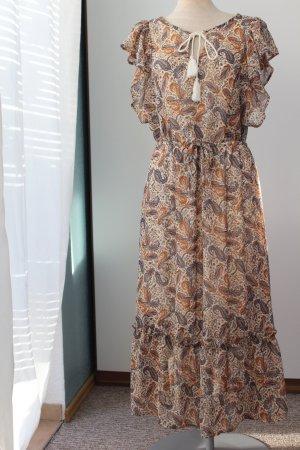 romantisches Hippie Kleid Paisley Muster beige blau neu  Midikleid Gr. 44