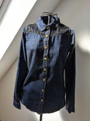zebra Blouse en jean bleu foncé-bleu coton