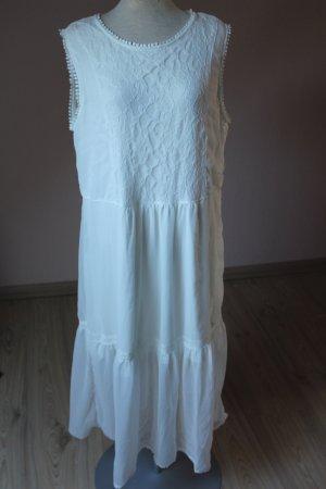 romantisches Kleid Hippie Spitze Weiß neu ärmellos Gr. 40 42 Midikleid